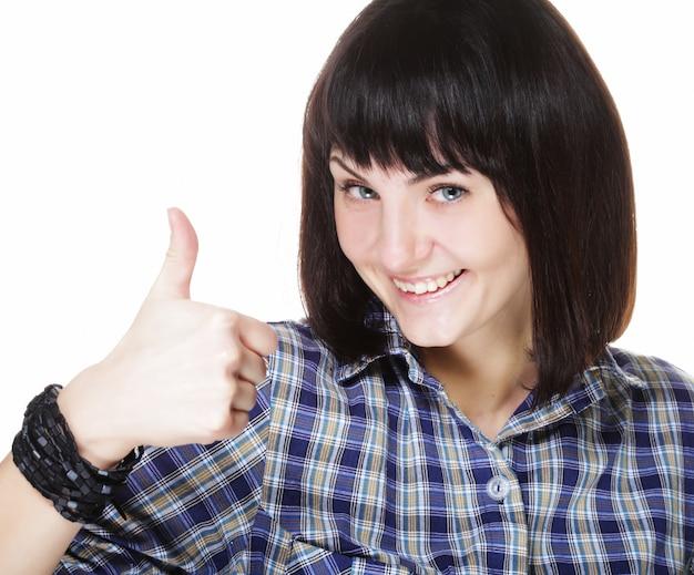 Gros plan, photo, de, drôle, jeune femme, montrer, geste correct, regarder appareil-photo