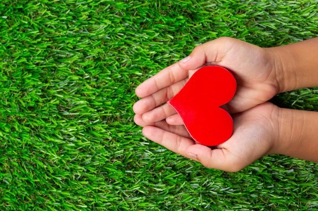 Gros plan photo de forme de coeur rouge dans les mains