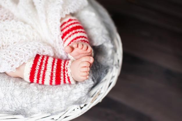 Gros plan, photo, nouveau né, pieds bébé, noël, temps