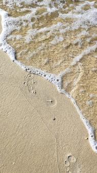 Gros plan sur des pieds de femme laissant des empreintes sur la plage de sable doré, côte dans l'eau de mer océan. concept de vacances, de voyage et de liberté. détente en été.