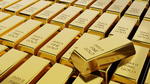 Gros plan pile de lingots d'or concept de richesse financière et de réserve. rendu 3d.