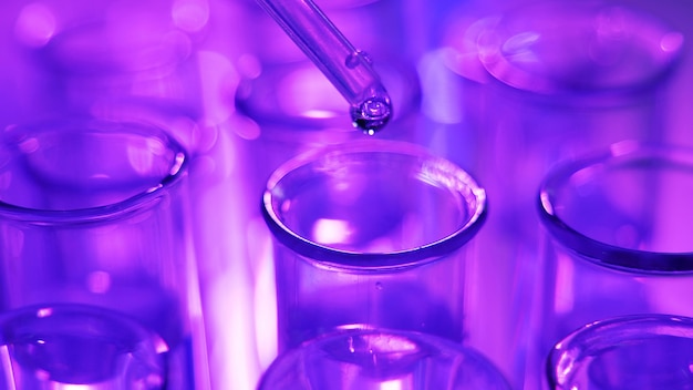 Gros plan sur une pipette avec un tube à essai en verre d'introduction de goutte d'eau bleu liquide en laboratoire