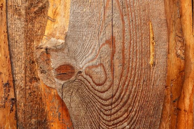 Gros plan d'une planche avec un noeud. texture et arrière-plan du bois.