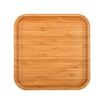 Gros plan d'une plaque en bois de bambou brun vide ou plateau de nourriture isolé sur fond blanc, vue de dessus élevée, directement au-dessus