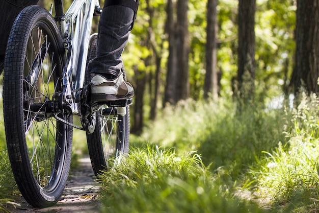Gros plan d'un pneu de vélo dans une forêt