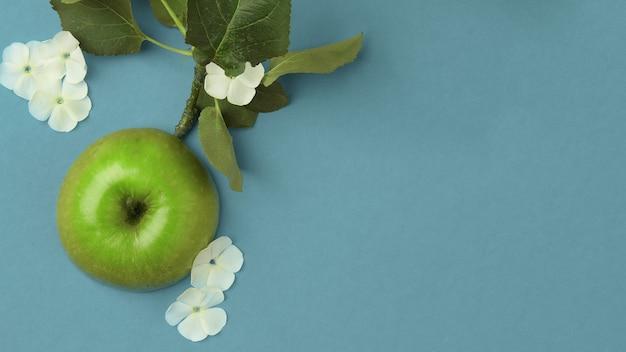 Gros plan sur une pomme verte entourée de fleurs blanches blanches sur fond turquoise