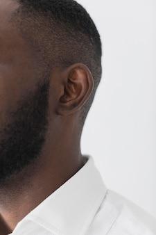 Gros plan, portrait, de, homme noir