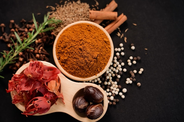 Gros plan de poudre de curry et d'épices dans une tasse en bois avec fond noir, concept de l'industrie