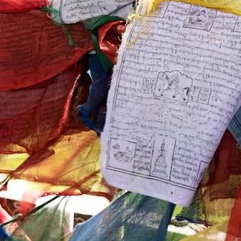 Gros plan, de, prière, drapeaux, thimphu, bhoutan