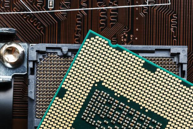 Gros plan, processeur, puce processeur