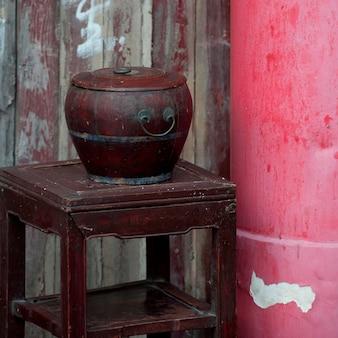 Gros plan, récipient, table, shanghai, porcelaine
