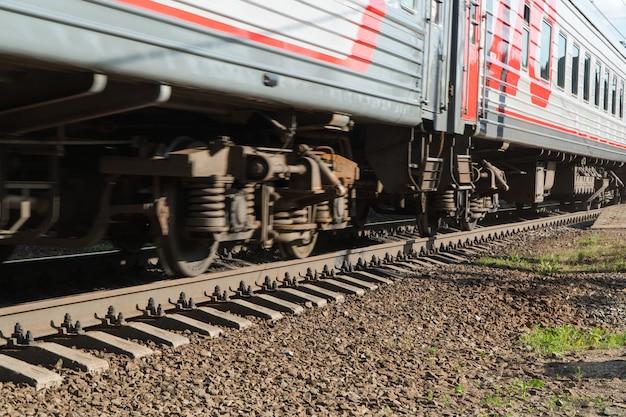 Gros plan de la roue de train sur le chemin de fer