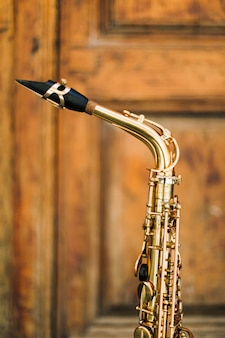 Gros plan, saxophone, cou
