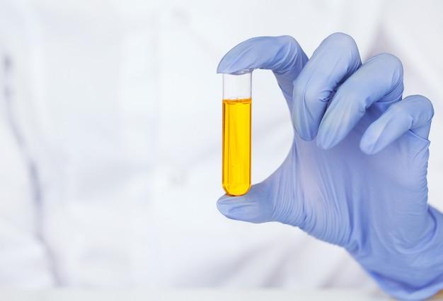 Gros plan d'un scientifique vérifiant le tube à essai en laboratoire