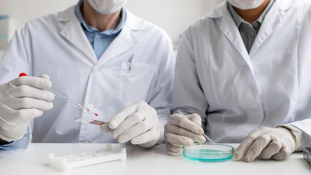 Gros plan des scientifiques travaillant ensemble