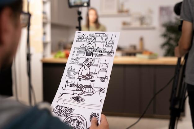 Gros plan de script de film dessiné à la main