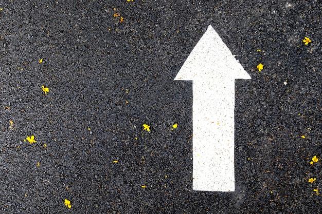 Gros plan d'un signe de flèche blanche sur l'asphalte, la marche et la piste dans le parc public.