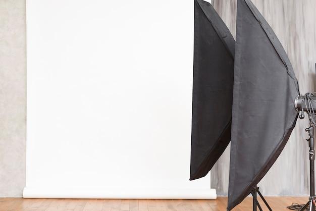 Gros plan studio avec lumières