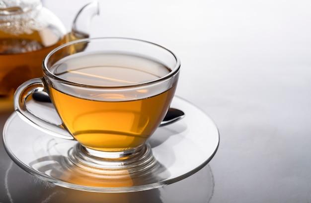 Gros plan de la tasse de thé chaude et de la théière transparente sur la table blanche avec espace copie.