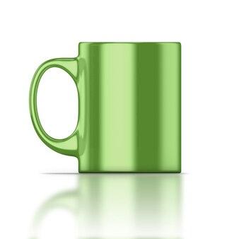 Gros plan de tasse verte isolé sur blanc