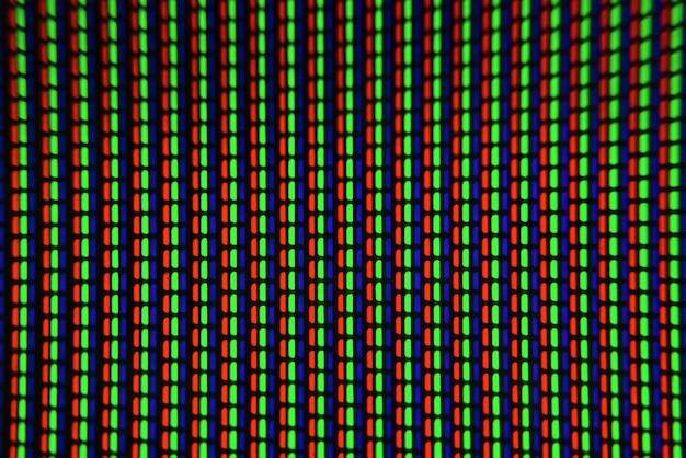 Gros plan sur la télévision. macro écran pixel.
