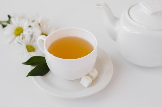 Gros plan de thé aromatique dans une tasse sur un plateau