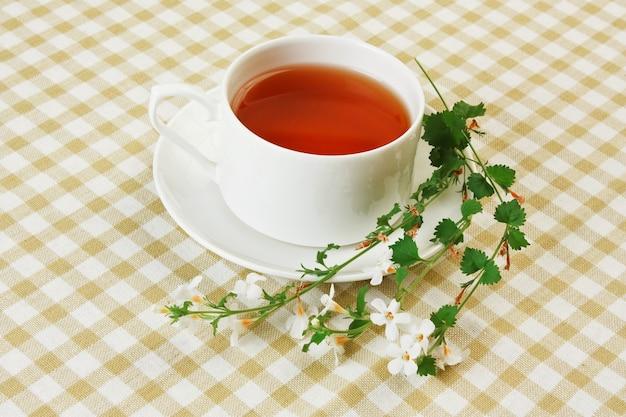 Gros plan sur le thé fruité floral sur la table