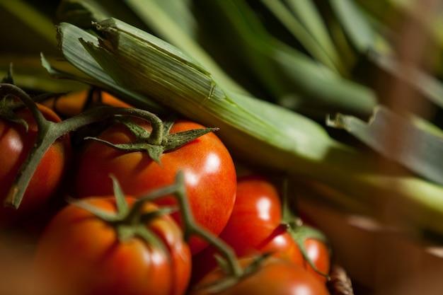 Gros plan, de, tomates fraîches, et, légume feuilles