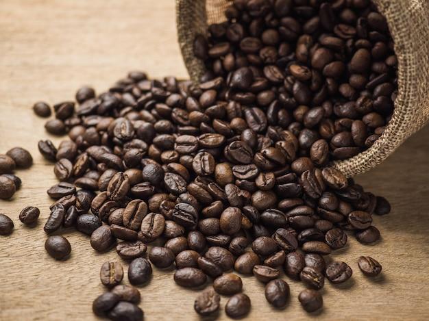 Gros plan, torréfié, grains café