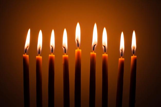 Gros plan, traditionnel, bougies, brûler