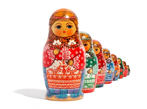 Gros plan, traditionnel, russe, matriochka, poupées