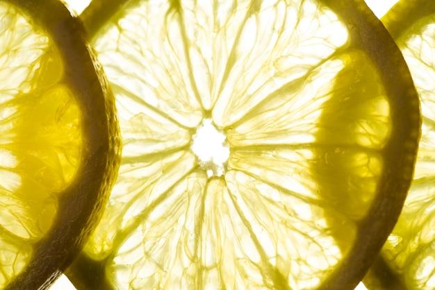 Gros plan, tranches, aigre, citron