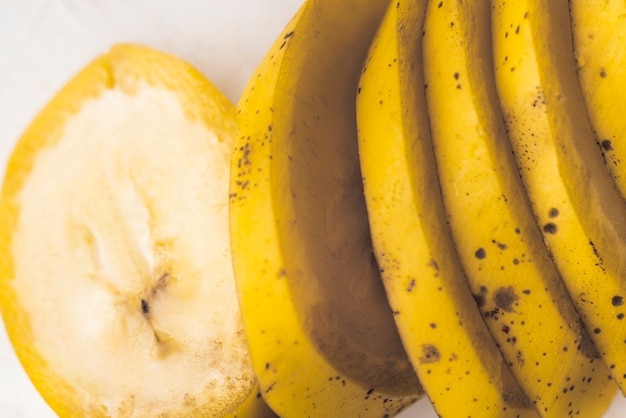 Gros plan, tranches, banane fruit