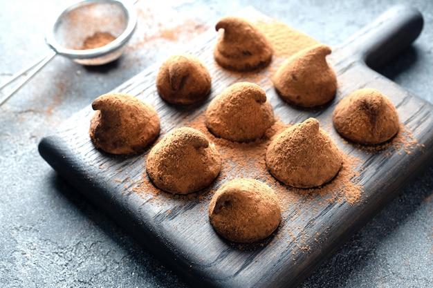 Gros plan, de, truffes, à, chocolat