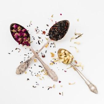 Gros plan, variété, cuillère, à, épices