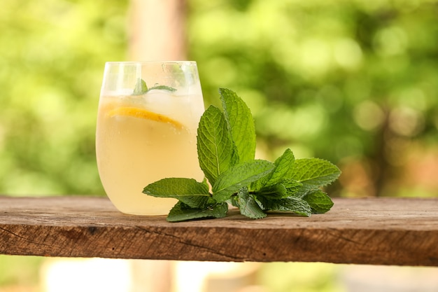Gros plan d'un verre de limonade froide avec des feuilles de menthe