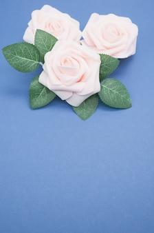 Gros plan vertical de roses roses isolé sur fond bleu avec espace de copie