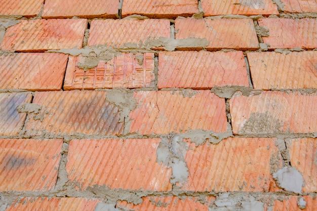 Gros plan, de, vieux, patiné, rouges, solide, mur brique