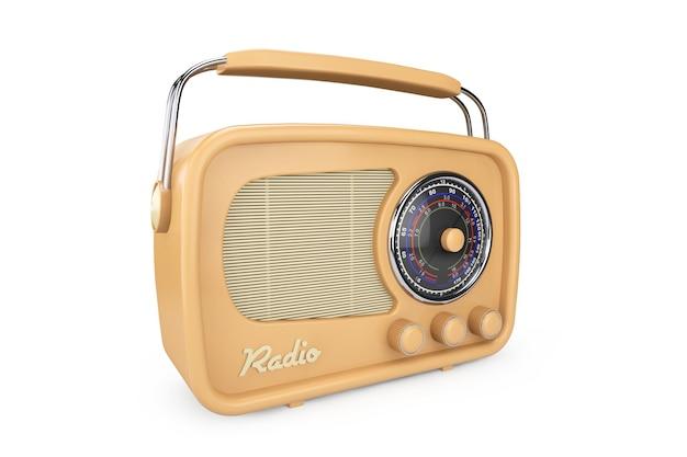 Gros plan vintage radio sur fond blanc