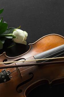 Gros plan violon et rose