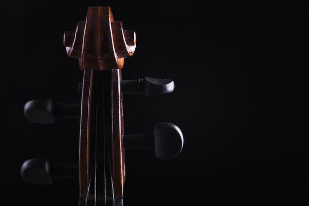 Gros plan, violoncelle, cheville, boîte