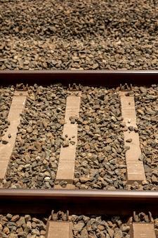 Gros plan d'une voie ferrée