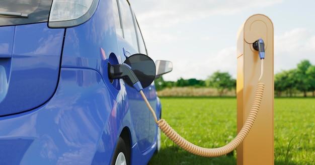 Gros plan voiture électrique charing
