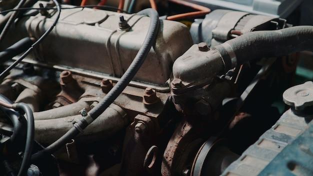 Gros plan, voiture, moteur, compartiment