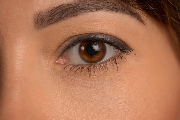 Le gros plan des yeux bruns sur le visage de la belle jeune fille caucasienne