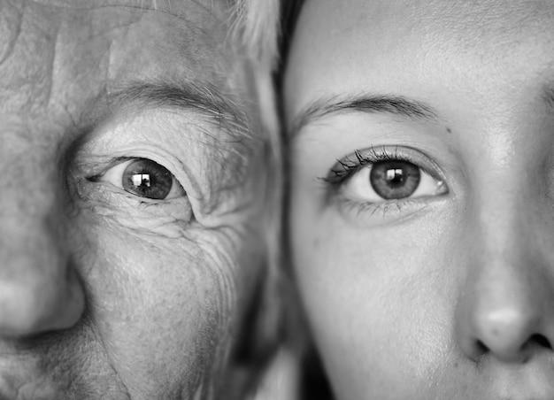 Gros plan des yeux de la famille