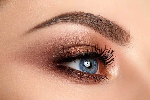 Gros plan des yeux de femme bleue avec un beau brun avec des nuances de rouge et d'orange le maquillage des yeux charbonneux. maquillage de mode moderne.