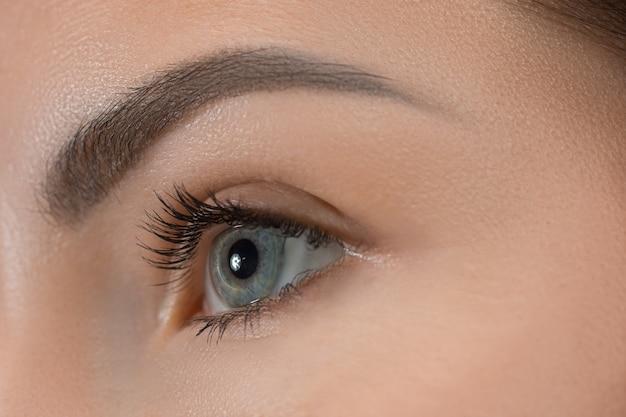 Le gros plan des yeux gris sur le visage de la belle jeune fille caucasienne