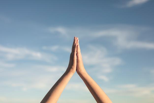 Gros plan, yoga, mains, pose, vue