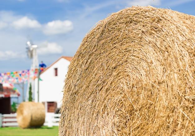 Gros rouleau de paille dans la ferme